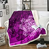 Loussiesd Manta de sherpa floral abstracta, manta de felpa bohemia, manta de forro polar para cama, sofá, manta moderna, cálida y difusa, ultra suave, color violeta degradado individual 120 x 152 cm