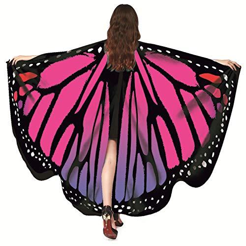 Chal de Alas de Mariposa para Las Mujeres Niñas, Hermoso Vistoso Chiffon Disfraz de Halloween Hada Accesorio de Disfraces Chal de Alas de Mariposa Duendecillo para Navidad, Fiesta de Baile
