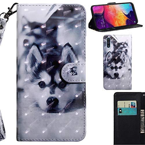 DodoBuy 3D Hülle für Samsung Galaxy A50, Flip PU Leder Schutzhülle Handy Tasche Brieftasche Wallet Hülle Cover Ständer mit Kartenfächer Trageschlaufe Magnetverschluss - H&