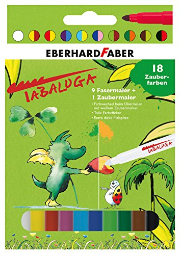 Eberhard Faber 551011 - Tabaluga Zauber-Filzstifte in 9 Farben mit dicker Malspitze und einem Zaubermarker, auswaschbar, im Kartonetui, zum Verzieren, Zeichnen, Basteln und Schreiben