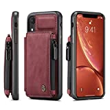 Case for iPhone XR,TACOO Girl Bulky Protective Durable Gift Sturdy Back Cardholders Kickstand Boy Leather Cover Women Zipper Soft Card Cash Slot Unisex Shell Men