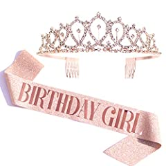 """""""BIRTHDAY GIRL"""" sash + rhinestone tiara gifts set. Sash. Made from soft glitter fabric using hot pressed stamping foil will compliment any outfit and durable enough to last day into night. Gold glitter sash + rose gold lettering looks great on photos..."""