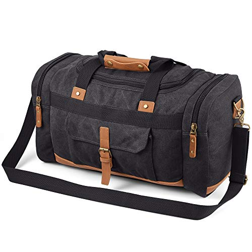 MxZas Overnight Weekend Bag Mens Oversized Carry On Bag Weekend Travel Bag Luggage Tote Bag Shoulder Handbag Canvas Luggage Gym Sport Bag (Color : Dark Gray, Size : 50x28x24cm)