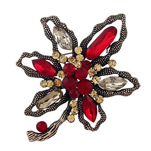 Fablcrew Broche Femme Broche Fleur Broche Vintage pour Chemises et Vestes 7.8 * 6.4cm Rouge
