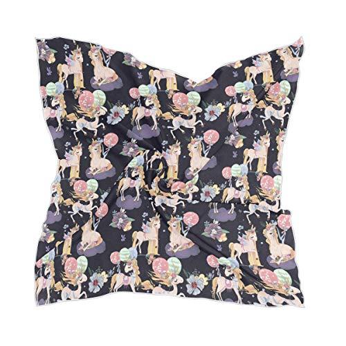 XiangHeFu zijden sjaal licht chiffon dunne zakdoek transparant hoofddeksel mooi patroon eenhoorn bloem