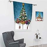 GugeABC Verdunklungsvorhang, Weihnachtsbaum, umgeben von Überraschungsboxen, Krippe Noel Yule Concept, Kunstdruck, Badezimmer-Vorhang, zum Binden, mehrfarbig, 121,9 x 162,6 cm