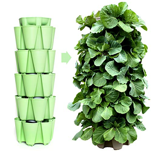 Huge GreenStalk 5 Tier Vertical Garden Planter with Patented Internal Watering System Great for Growing a Variety of Strawberries, Vegetables, Herbs, & Flowers (Luscious Green)