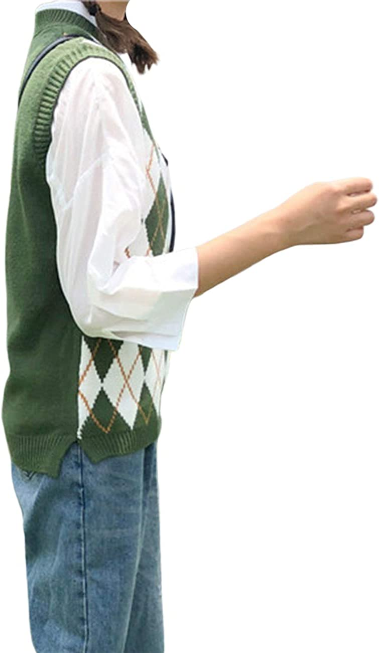 D Womens Streetwear Preppy Style Knitwear Tank Top V Neck Argyle Plaid Knitted Sweater Vest N