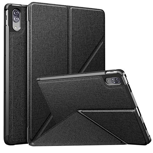 MoKo Funda Compatible con Lenovo Tab P11 Pro 11.5-Inch 2020 Model (TB-J706F/J706L), Cubierta Estuche Protector con Origami Soporte Múltiple Ángulo Visión Smart Cover Case con TPU Panel Trasero, Negro