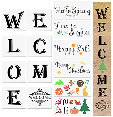 Seasonal Welcome Stencils, 14 Pcs Vertical Welcome Reusable Christmas Stencils for Front Door, Porch Painting on Wood Art DIY Projects