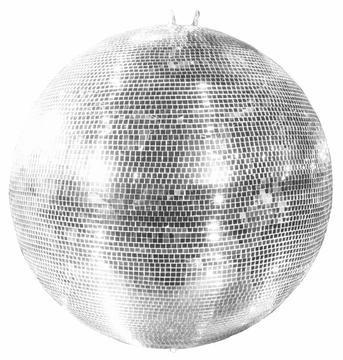 showking - Bola de discoteca GLIX grande con facetas de cristal real, diámetro de 100 cm, color plateado - Bola de discoteca de los años 70 / bola de espejo