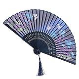 Spielzeug Hand-Ventilator japanischen Stil Zeichnung Blumen und Schmetterlinge Fächer faltbar...