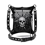 Steampunk Waist Bag Fanny Pack Fashion Gothic Skull Leather Shoulder Crossbody Messenger Thigh Leg Hip Holster Purse Travel Pouch Hiking Sport