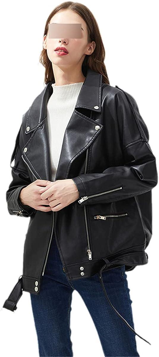 PU Faux Leather Jacket Women's Loose Belt Leisure Motorcycle Jacket