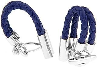 أزرار أكمام جلدية مجدولة زرقاء اللون من MRCUFF في صندوق هدايا وقطعة قماش تلميع