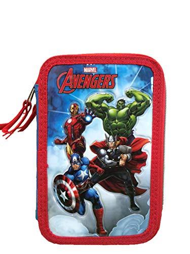 CP Marvel Avengers Astuccio 3 Zip , Porta Penne Triplo Completo Carioca , Astuccio Completo Tre Cerniere Hulk Iron Man Thor Capitan America