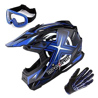1Storm Adult Motocross Helmet BMX MX ATV Dirt Bike Helmet Racing Style Glossy Blue; + Goggles + Skeleton Blue Glove Bundle