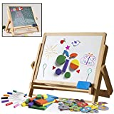 Double-Sided Tabletop Art Easel 80pc Activity Set for Kids- Childrens Magnetic Whiteboard & Chalkboard w Dry Erase Markers, Alphabet Phonic Letters, and Shapes