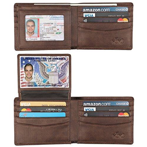 Geldbörse für Herren, Echtleder, RFID-blockierend, modisch, mit 2 Ausweis-Fenstern - Braun - Medium
