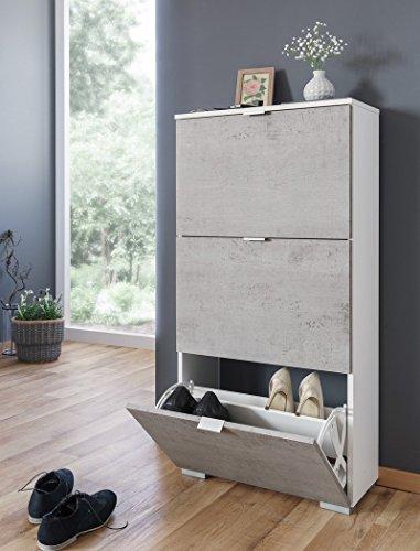 expendio Schuhschrank Hanau 2 weiß Beton 58x117x25 cm Schuhkipper Dielenschrank Garderobe Wandschuhschrank Garderobenschrank