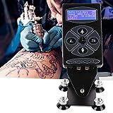Pantalla plana con botones, función de memoria, máquina de tatuajes de alto rendimiento, voltaje de pantalla LCD en tiempo real [UE], fuente de alimentación multifunción para tatuajes corporales de ta
