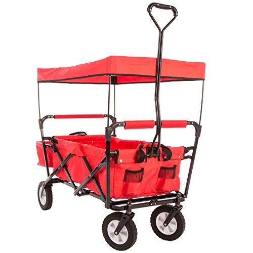 Ultrasport faltbarer Wagen / Bollerwagen / Picknickwagen mit Transporthülle und Dach, belastbar bis 55 kg, Rot
