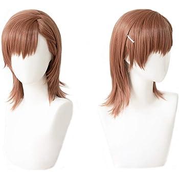 耐熱コスプレウィッグ 二番目の城 御坂 美琴 コスチュム wig +おまけ5点 専用ネットと櫛付 ピンクのヘアブラシ付 ヘアピンとメモパッド付