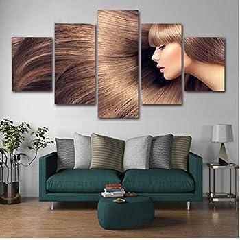 xtszlfj 5 Panel Canvas Painting Hairdressing Posters Hair slaon Canvas Wall Art Hair Salon Posters Artwork Barber Poster 30x40 30x60 30x80cm Frameless