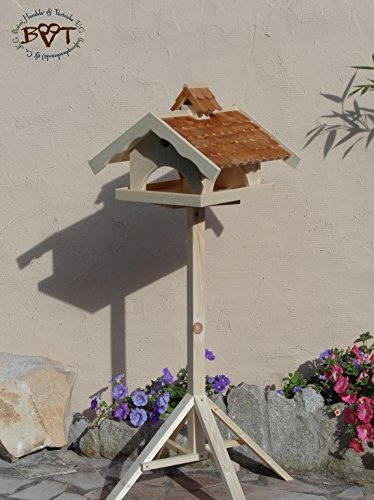vogelfutterhaus, Vogelhäuser mit Ständer, BTVK-VONI5-MS-dbraun002,groß,wetterfest,PREMIUM-Qualität,Vogelhaus,VOGELFUTTERHAUS + Nistkasten 100% KOMBI MIT NISTHILFE für Vögel KOMPLETT mit Ständer wetterfest lasiert, WETTERFEST, QUALITÄTS-SCHREINERARBEIT-aus 100% Vollholz, Holz Futterhaus für Vögel, MIT FUTTERSCHACHT Futtervorrat, Vogelfutter-Station Farbe braun dunkelbraun schokobraun rustikal klassisch, MIT TIEFEM WETTERSCHUTZ-DACH für trockenes Futter