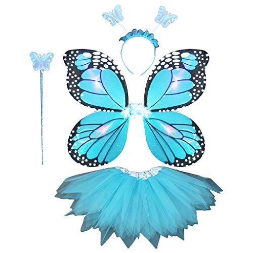 JHD Niños Adultos 4 Piezas Conjunto de Disfraces de Hadas LED simulación alas de Mariposa Falda tutú Puntiaguda Diadema Varita Princesa niñas Vestido de Fiesta