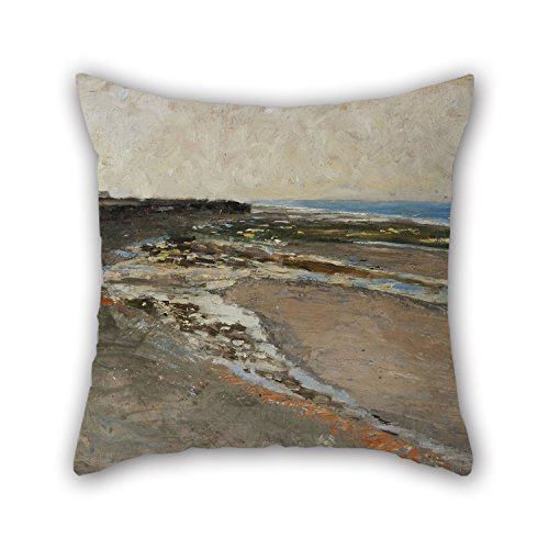 Slimmingpiggy Oil Painting Carl Fredrik Hill - Seashore At Luc-sur-Mer Throw Christmas Pillow Covers Best For Indoor Wife Teens Boys Club Coffee House Home 20 X 20 Inches / 50 By 50 Cm(both Sides)