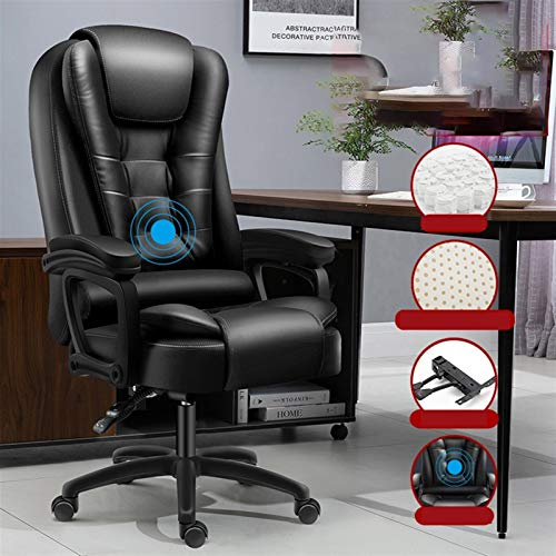 JMXAFMY Silla de oficina Gaffer ergonómica para juegos de azar en Internet, café, asiento para el hogar, silla reclinable de siete puntos (color: negro PU)