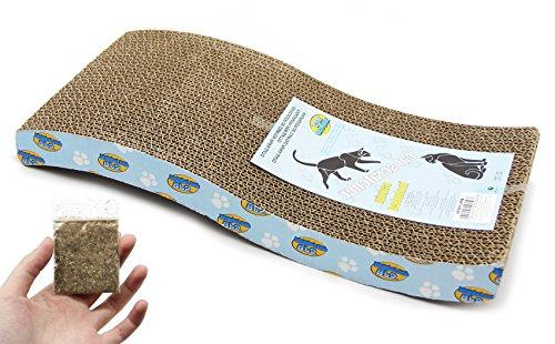 BPS Rascador Gatos Rascador Tabla de Cartón Papel Incluido Hierba Gatera 3 Modelos Elegir 43 x 21 x 4 cm (Tabla Ondulado) BPS-10054