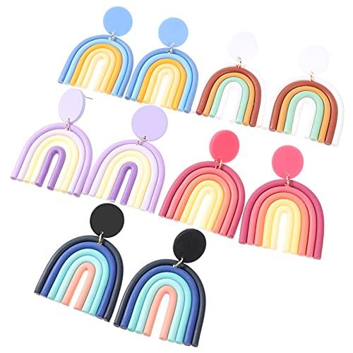 Artibetter 5 Pairs Colorata A Mano In Ceramica Argilla Orecchini Arcobaleno Argilla Ciondola Gli Orecchini a Forma di U di Goccia Della Vite Prigioniera Orecchini per Le Donne Ragazze