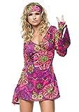 LEG AVENUE 83048 - 2Tl. Retro Go Go Kleid Kostüm Set Mit Kleid Mit Stirnband Kostüm Damen Karneval, M/L (EUR 40-42)