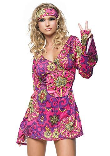 LEG AVENUE 83048-2-delig. Retro Go Go jurk kostuum set met jurk met hoofdband kostuum dames carnaval Maat: S/M (EUR 36-38) Größe: S/M (EUR 36-38) multicolor
