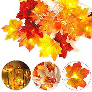 HZONE Thanksgiving Decorations Fall Garland 40 LED Maple Leaf String Lights, 3AA Battery Powered Autumn Decor Lighted Garl...