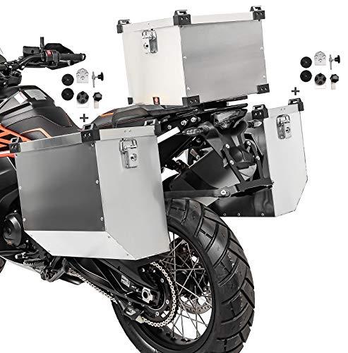Alu Seitenkoffer Namib 36l-36l Topcase 38L und Adapter Kompatibel für Kofferträger