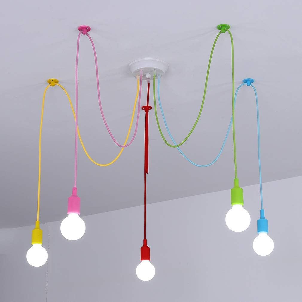 Spider Chandelier Colorful Pendant Light, Kids Fun Color DIY Ceiling Lighting Fixtures Lamp for Dids Room, Girls Rooms, Boy Room, Playroom, Classroom, Living Room, Bedroom.E26, 5 Lights . - -