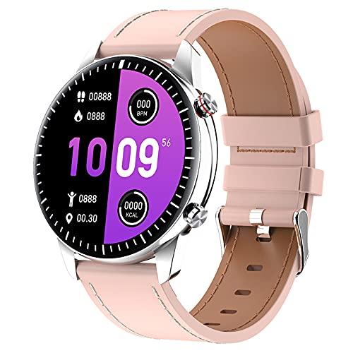 QFSLR Smartwatch, Reloj Inteligente Impermeable IP67 con Llamada Bluetooth Monitor De Frecuencia Cardíaca Monitor De Presión Arterial Monitoreo De Oxígeno En Sangre para Android iOS,Rosado