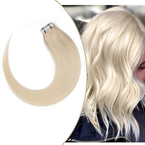 Extension Adhesive Cheveux Naturel - Rajout Extensions Cheveux Humains Naturels à Bande Adhésive 20pcs 40g (#70 Blanc blanchi, 30cm)