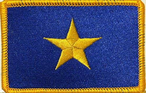 The Burnet Flag (1836-1839) Republic of Texas Flag Embroidered Patch with Hook & Loop MC Biker Patriotic USA Shoulder Morale Emblem #03 (Gold Border)