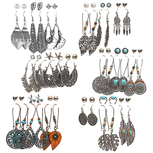 36 pairs Boho Classic Vintage Drop Dangle Earrings Set for Women Girls National Style Hollow Heart Shaped Alloy Studs Wood Leaf Handmade beading Eardrop