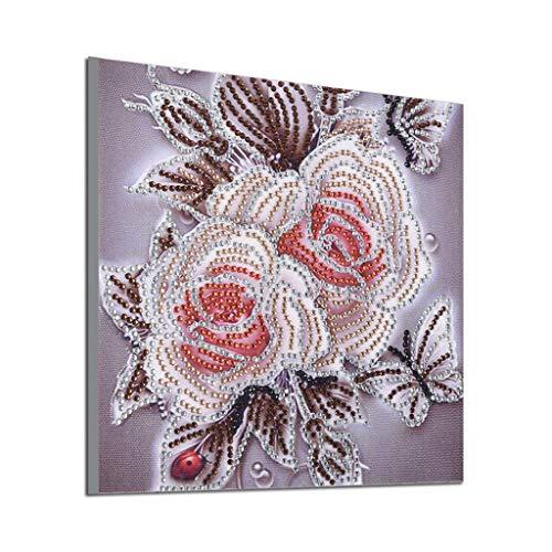 LianMengMVP Peinture en Diamant 5D DIY, Fleur de Pivoine Peinture au Diamant Bricolage Forme spéciale Diamond Foret partiel Kits Point De Croix Cristal Broderie Décoration de Maison