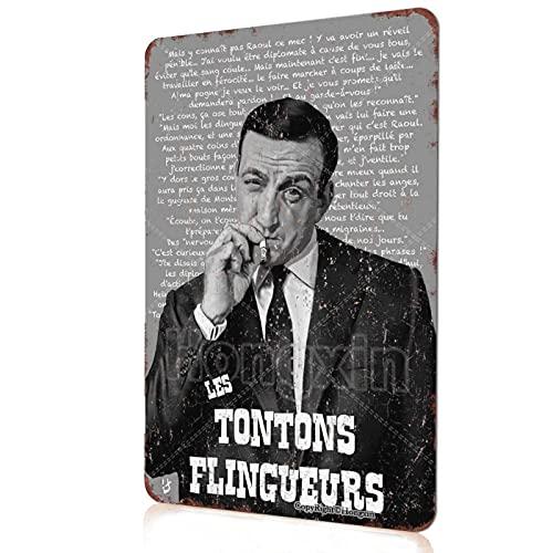 Movie Series Vintage Retro Tin Metal Sign Les Tontons Flingueurs – Lino Ventura 1963 Affiche de film Cinéma Garage Bar Salon Chambre Décoratif Métal Rétro Signe Plaque