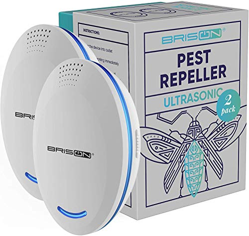 BRISON Ultrasonic Pest Repeller Plug-in Control Electronic Insect Repellent Gets Rid Mosquito Bed Bugs Roach Spiders Fleas Mice Ants Fruit Fly Rodent [2-Pack]