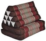 Wilai GmbH Cuscino triangolo Thai con piccolo materasso 2 pieghe, fabbricato in Thailandia, marrone/bordeaux (82502)