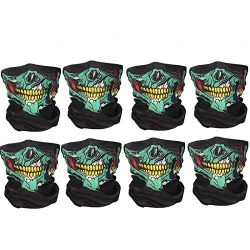 8 Stück Totenkopf Multifunktionstuch Skull Motiv Für Motorrad Fahrrad Ski Paintball Gamer Karneval Kostüm Skull Maske
