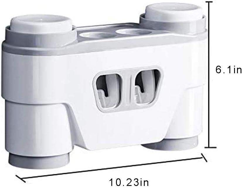 Wekity Punch-Free Support mural pour brosse /à dents /électrique avec 2 distributeurs de dentifrice automatiques et 4 gobelets deau buccale pour salle de bain familiale Gris