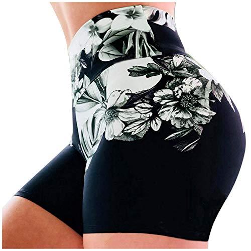 YANFANG Pantalones Cortos de Yoga Fitness,Calzoncillos elásticos de Cintura Alta con Estampado de Damas Que Ejecutan Pantalones Deportivos,de Cintura Alta,Chandal Algodon Deportivo